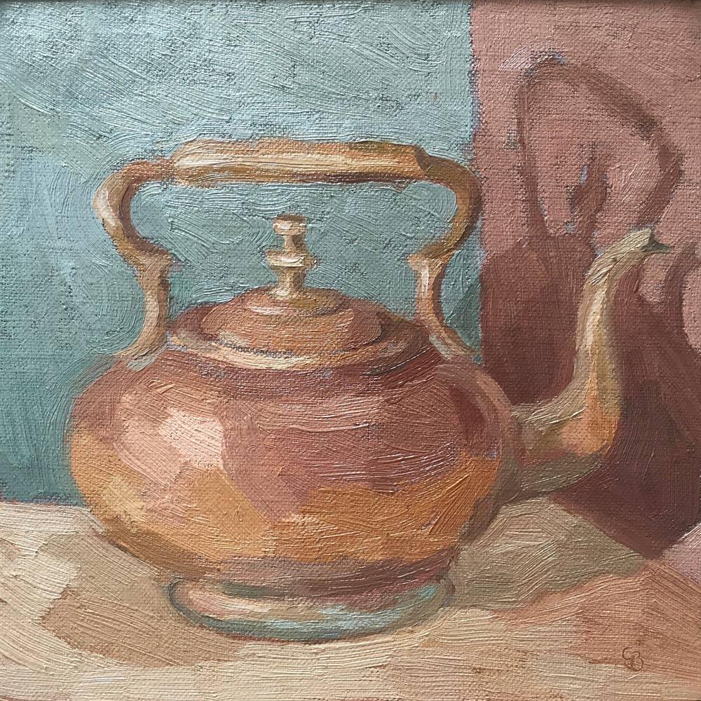 """Old Brass Teapot 8x8"""""""