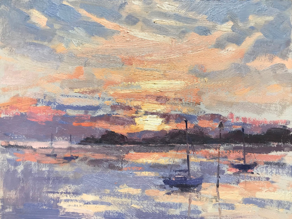 Sunrise Langstone Harbour 18x24cm SOLD