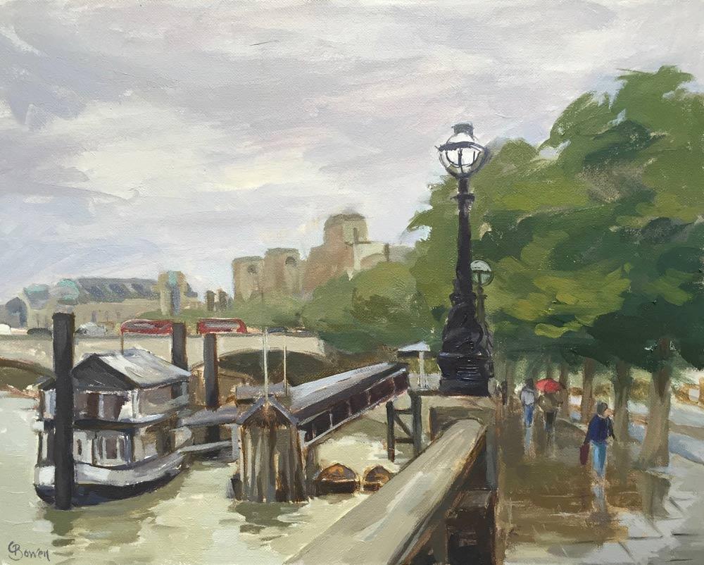 """Rainy Day Victoria Embankment 9.5x12"""""""