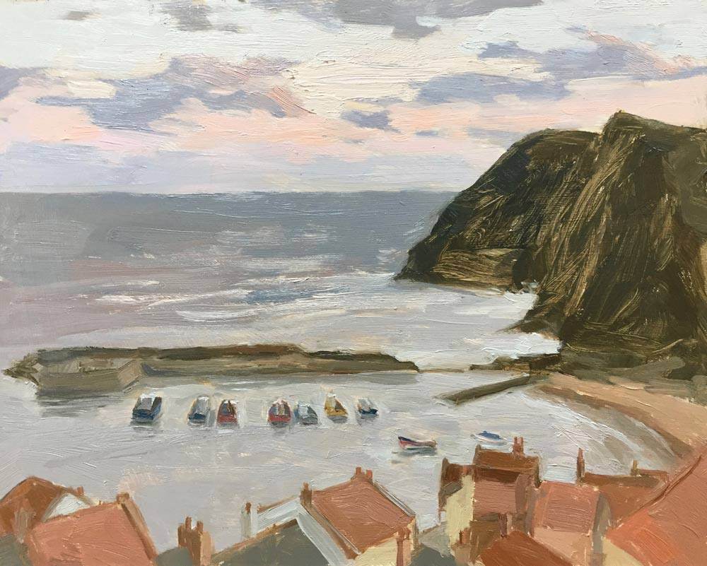 Sunrise, Staithes Harbour 8x10""