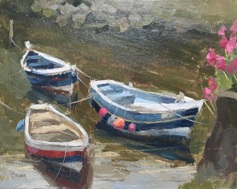 Three Boats Staithes 8x10""