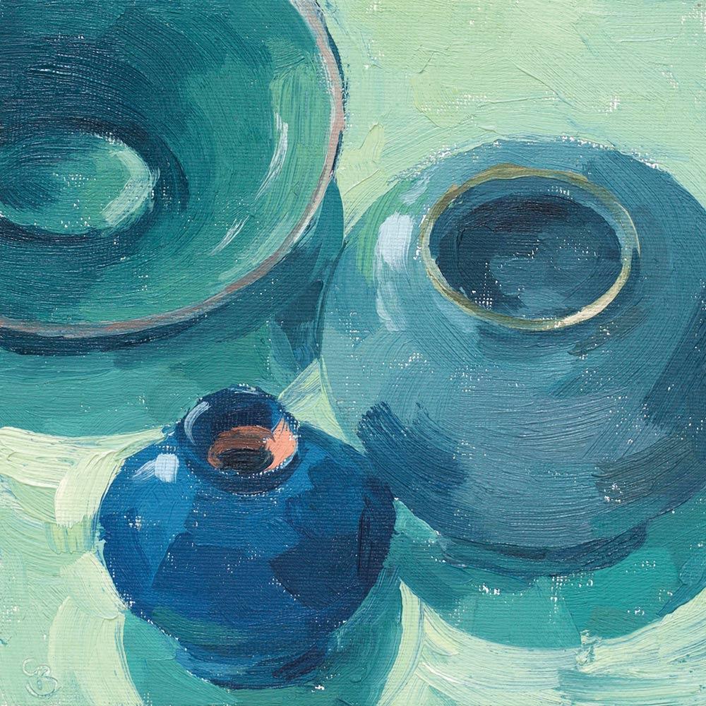 """Turquoise Pots 6x6"""" NFS"""