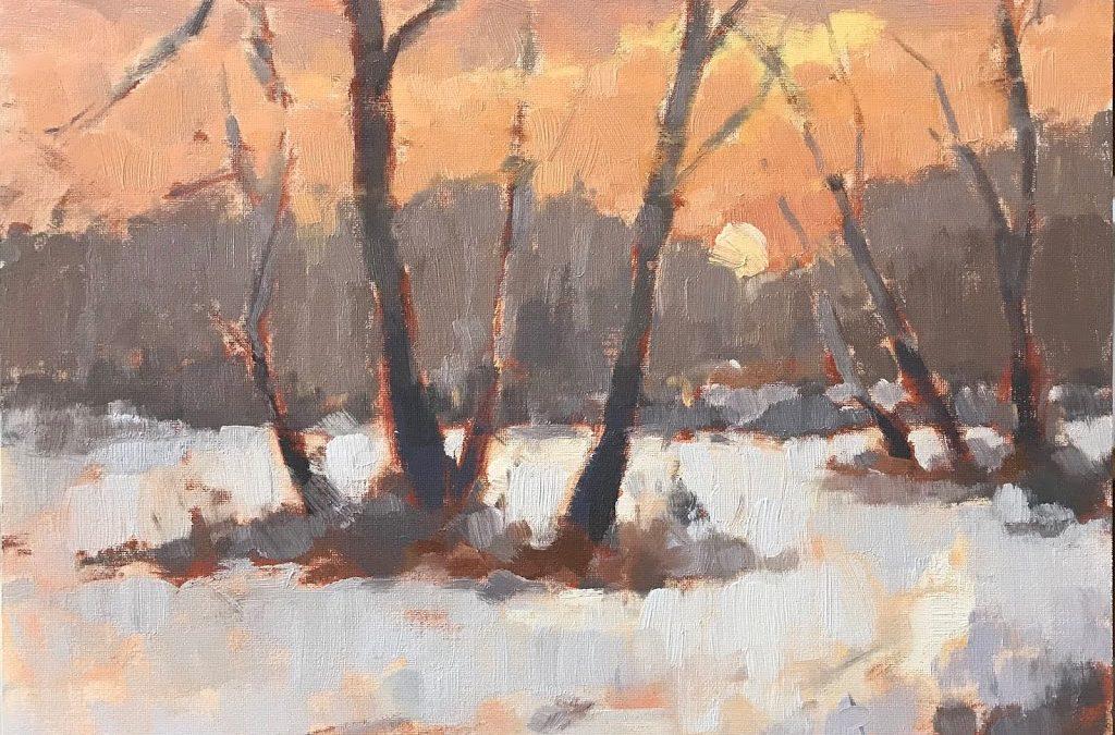 #443 'Silver Birch in Snow' 30x30cm