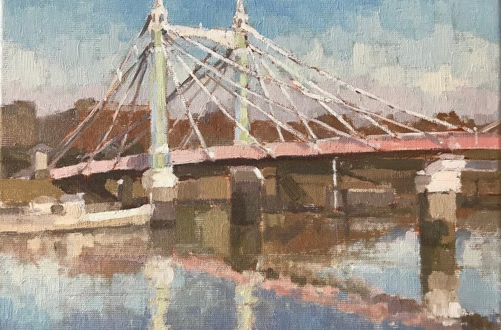 #446 'Midday Light, Albert Bridge' 30x40cm