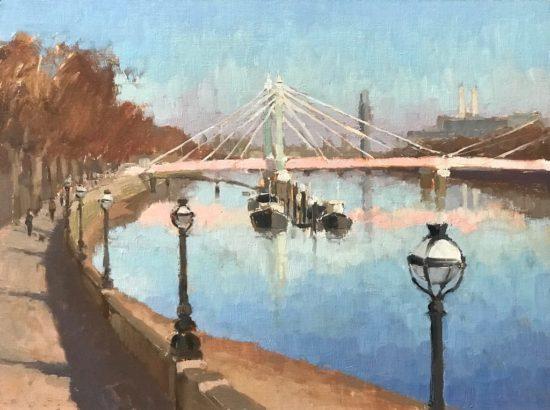 #449 'View from Battersea Bridge' 30x40cm