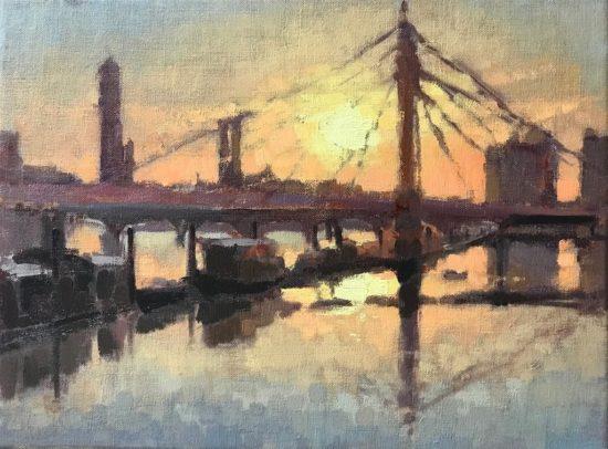 #447 'Golden Hour, Albert Bridge' 30x40cm