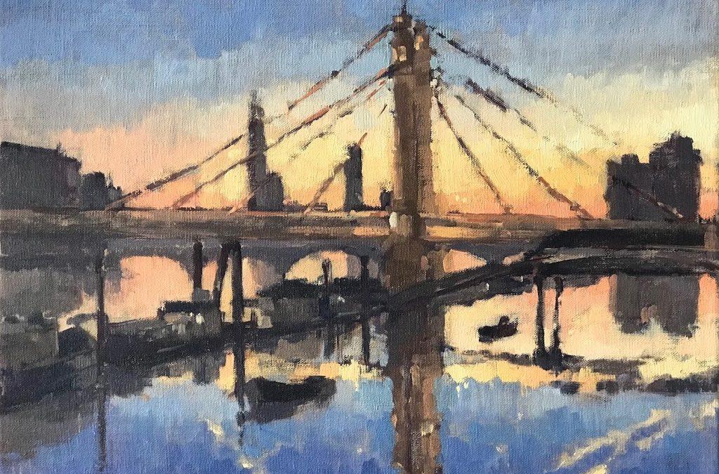 #448 'Twilight, Albert Bridge' 30x40cm