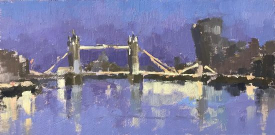 #454 'Lights on Tower Bridge' 6×12″