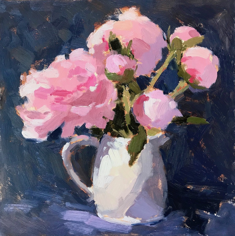 Peonies in a Ceramic Jug