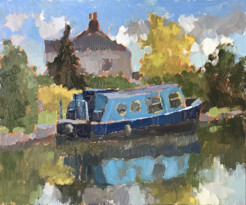 #466 Blue Canal Boat