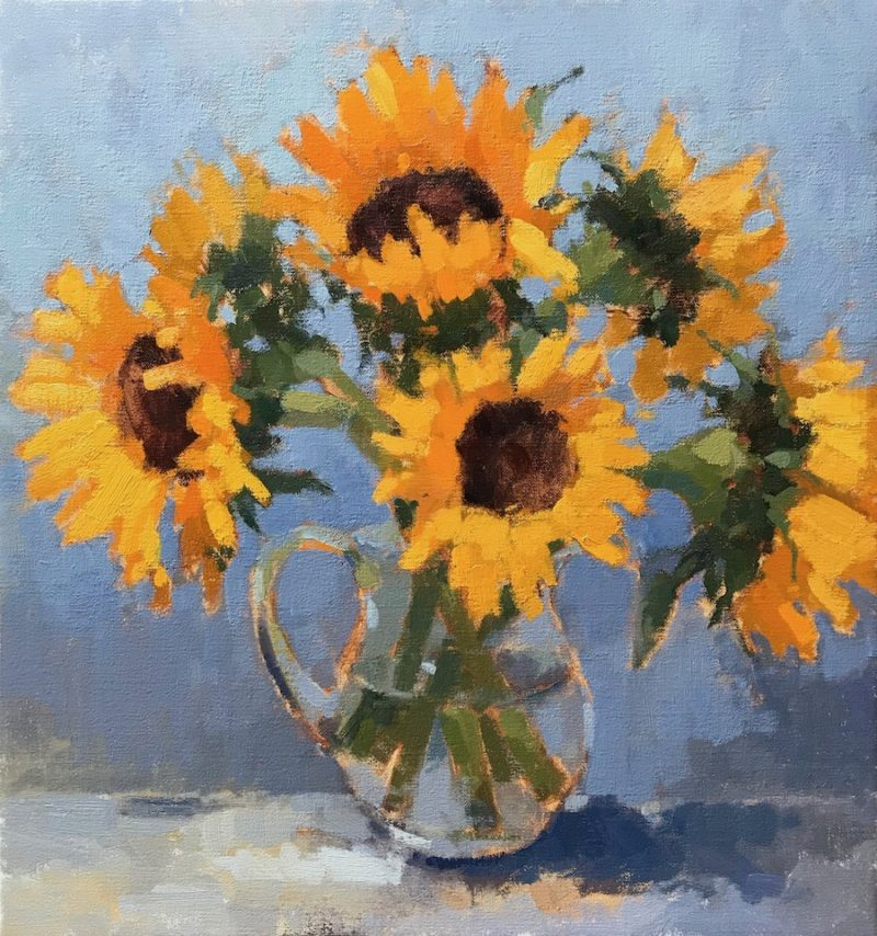 #478 Sunflowers in Glass Jug
