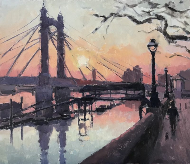 #525 'Albert Bridge, Sunset'