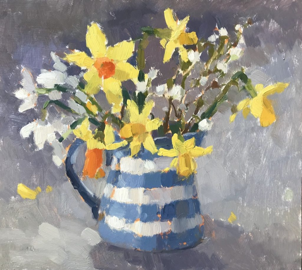 Spring Flowers in Stripy Jug