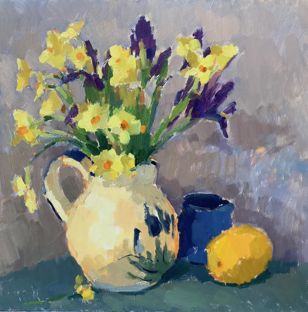 Iris & Daffodils in Yellow Jug