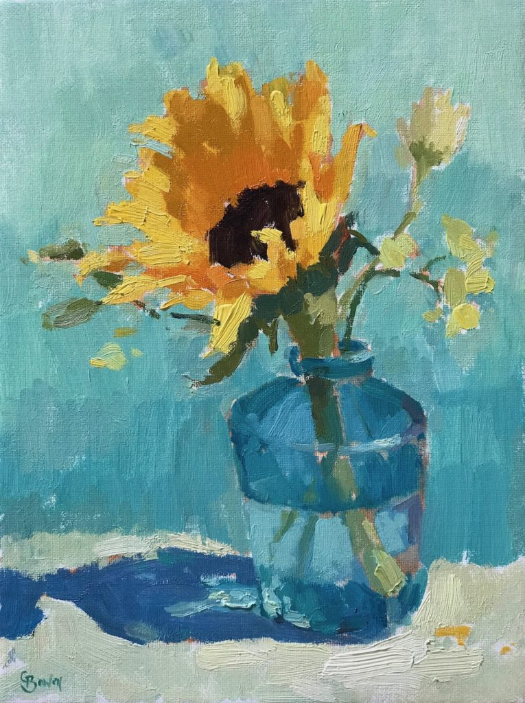 Sunflower in Turquoise Bottle