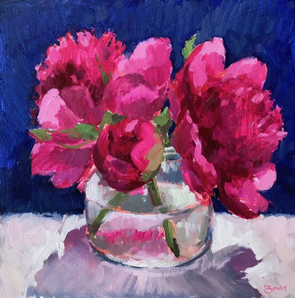 Bright Pink Peonies in Glass Jar