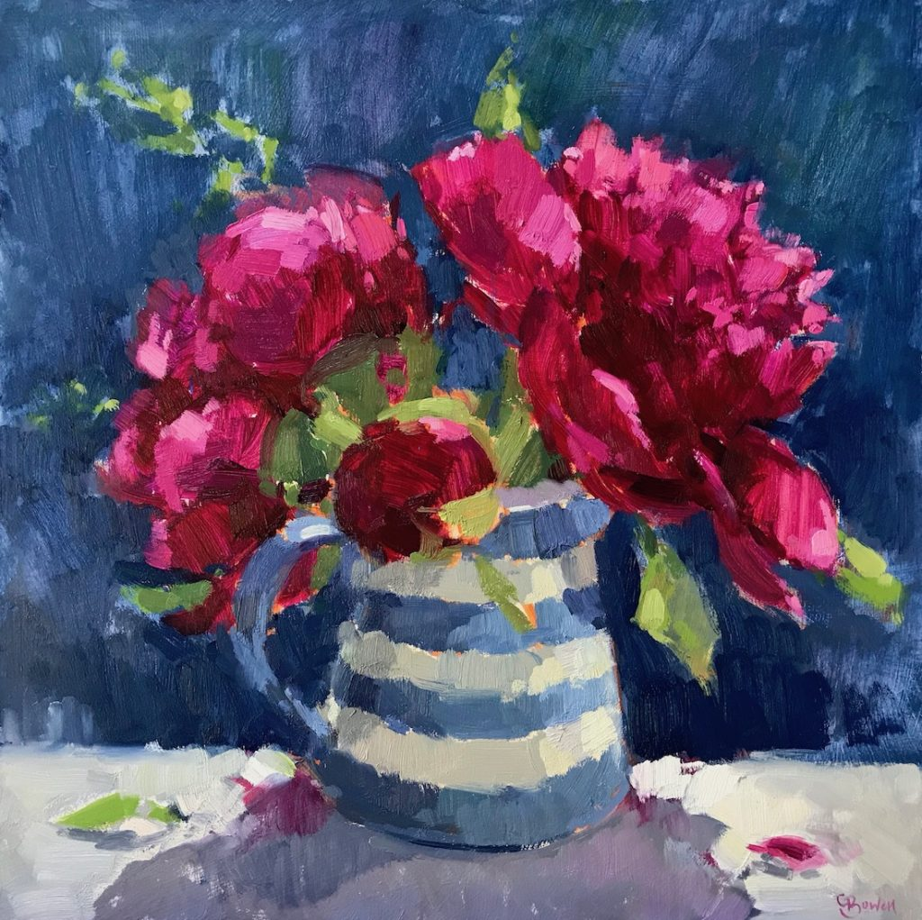 Pink Peonies in Cornishware