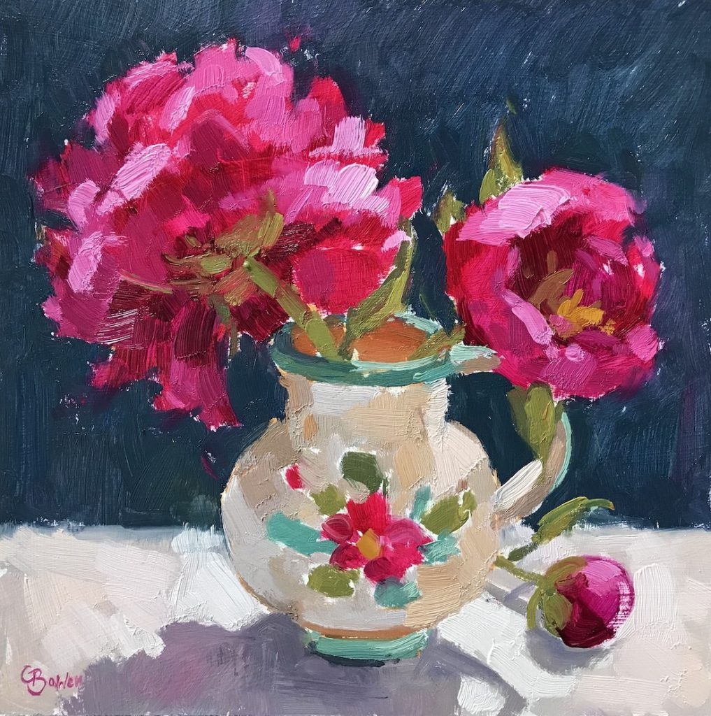 peonies in Portuguese Pot
