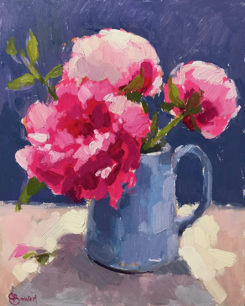 Peonies in Kings Blue Jug