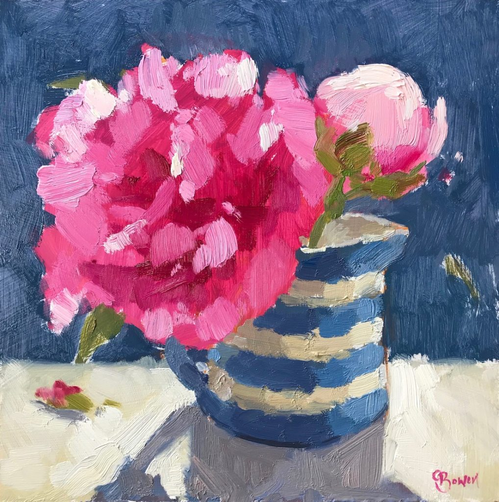 Peonies in Stripy Jug